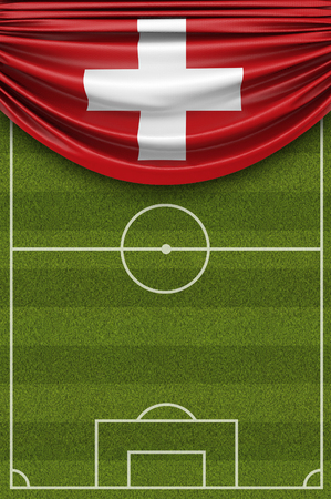 Switzerland country flag draped over a football soccer pitch. 3D Rendering