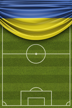 Ukraine country flag draped over a football soccer pitch. 3D Rendering 写真素材