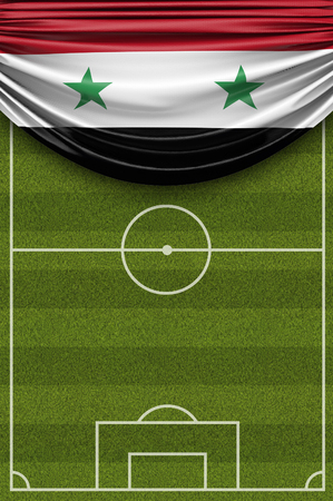 Syria country flag draped over a football soccer pitch. 3D Rendering