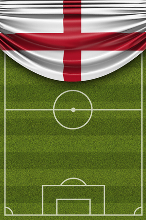 England country flag draped over a football soccer pitch. 3D Rendering Stock Photo