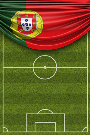Portugal country flag draped over a football soccer pitch. 3D Rendering