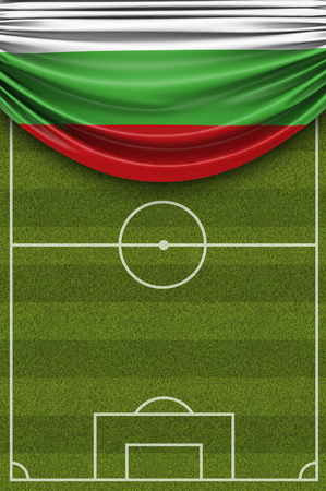 Bulgaria country flag draped over a football soccer pitch. 3D Rendering