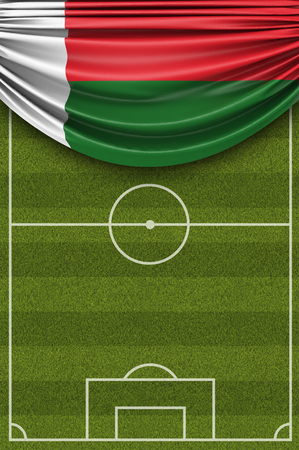 Madagascar country flag draped over a football soccer pitch. 3D Rendering 写真素材