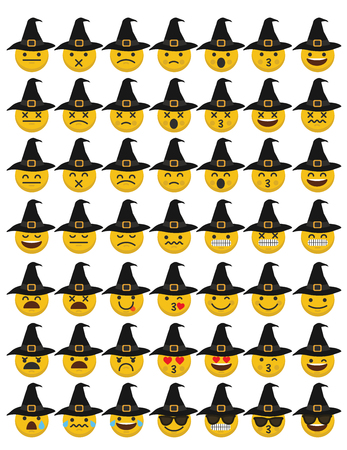 Set of emoji halloween witch emoticon character faces.