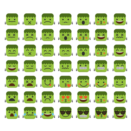 Set of emoji frankenstein halloween emoticon character faces.