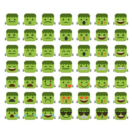 Set of emoji frankenstein halloween emoticon character faces.