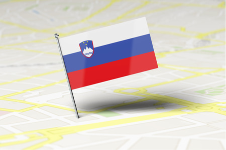Slovenia national flag location pin stuck into a city road map. 3D Rendering Stock Photo