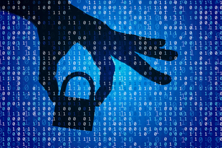 Silhouette of a hand holding a padlock with binary digital code. Security and privacy.