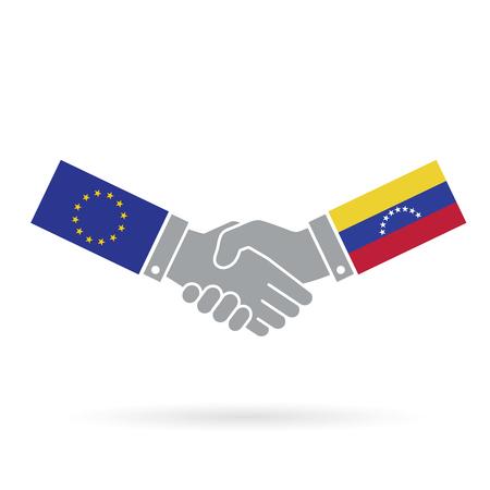 European union and Venezuela handshake business agreement. Stock Photo