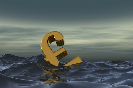 British pound sterling symbol at sea. Drowning in debt financial problem concept. 3D rendering Stock Photo