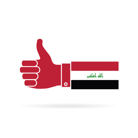 Vlag van Irak land thumbs up vector pictogram Stockfoto - 99192576
