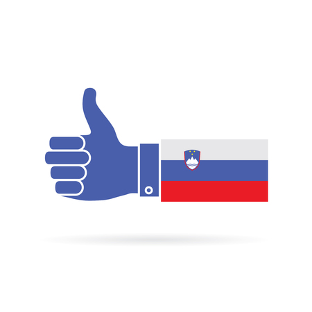 Slovenia country flag thumbs up vector icon