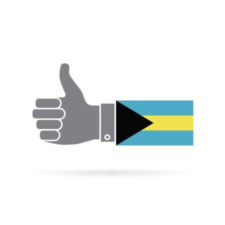 Bahamas country flag thumbs up vector icon