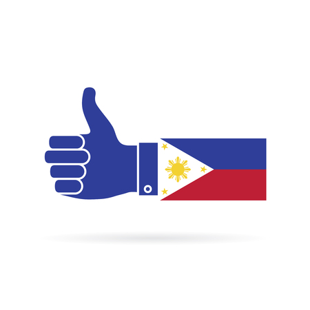 Philippines country flag thumbs up vector icon