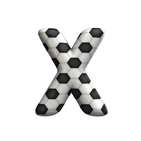 Soccer ball texture capital letter X. 3D Rendering