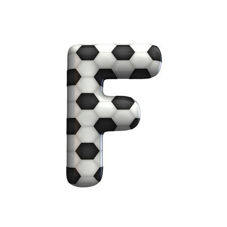Soccer ball texture capital letter F. 3D Rendering Banco de Imagens