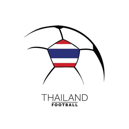 Soccer football minimal design with Thailand flag Vector illustration.
