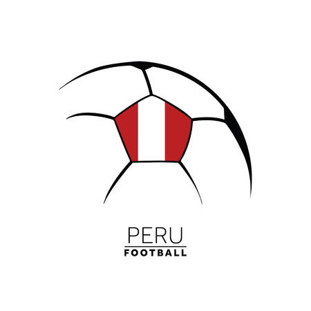 Soccer football minimal design with Peru flag
