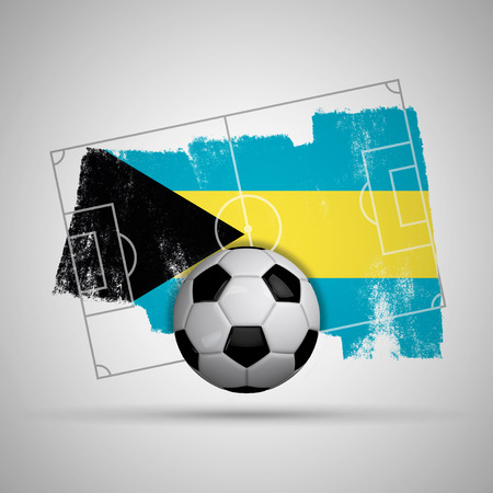 Bahamas flag soccer background with grunge flag, football pitch and soccer ball