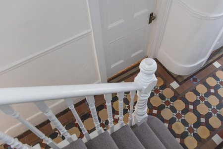 House Entrance Hall With Period Feature Victorian Tiles Stock Photo