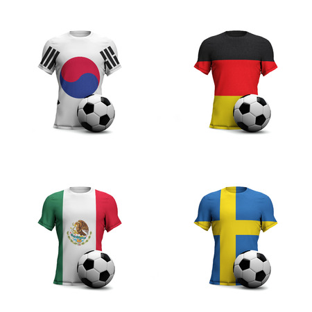 Group F World championship teams. 2018 soccer tournament in Russia. Soccer shirts with national flags and football ball. Banco de Imagens
