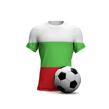 Bulgaria soccer shirt with national flag and football ball. 3D Rendering Stock Photo