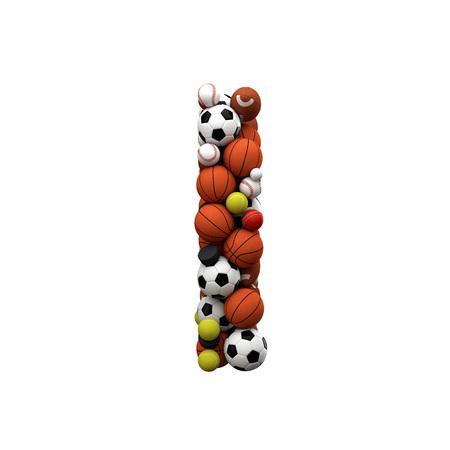 Letter I. Font made from sports balls. 3D Rendering Stok Fotoğraf