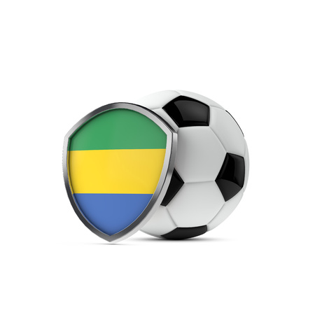 Gabon national flag shield with a soccer ball. 3D Rendering