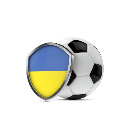 Ukraine national flag shield with a soccer ball. 3D Rendering