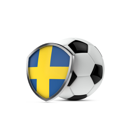 Sweden national flag shield with a soccer ball. 3D Rendering