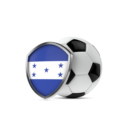 c0606b84f92 Honduras national flag shield with a soccer ball. 3D Rendering Stock Photo