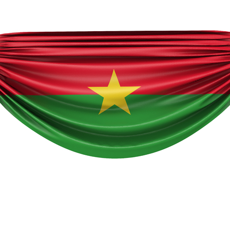 Burkina Faso national flag hanging fabric banner. 3D Rendering