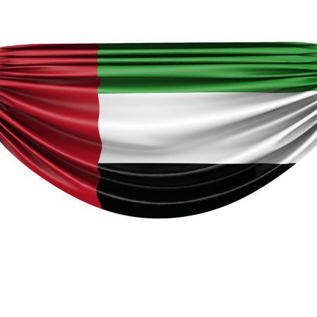 United Arab Emirates national flag hanging fabric banner. 3D Rendering