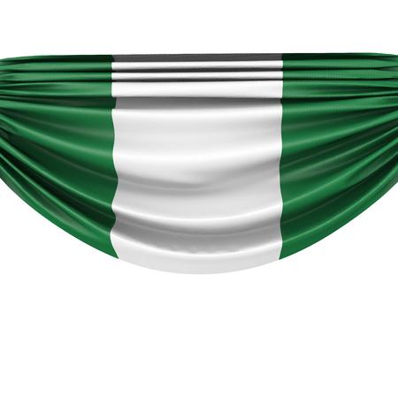 Nigeria national flag hanging fabric banner. 3D Rendering