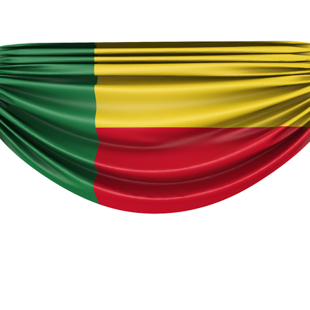 Benin national flag hanging fabric banner. 3D Rendering Stock Photo