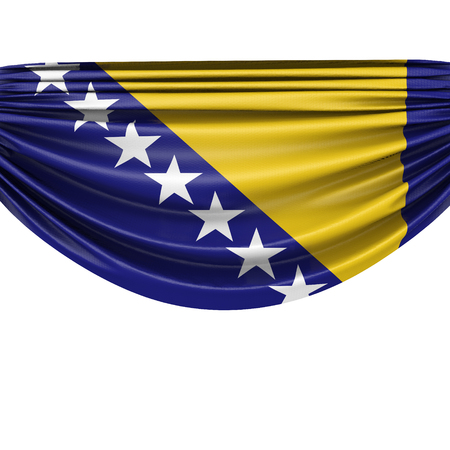 Bosnia national flag hanging fabric banner. 3D Rendering