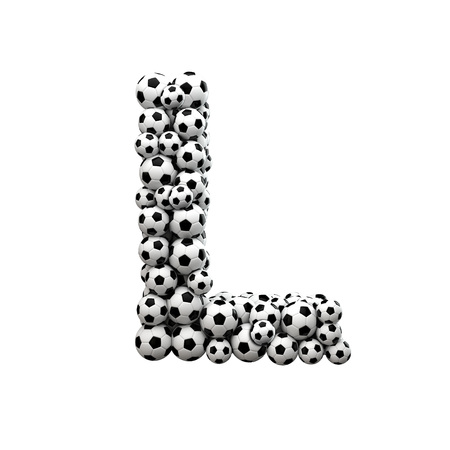 Capital letter L font made from a collection of soccer balls. 3D Rendering