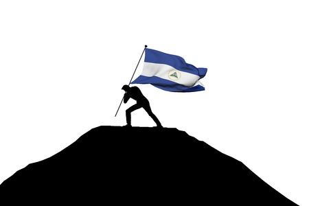 Nicaragua flag being pushed into mountain top by a male silhouette. 3D Rendering Stock Photo