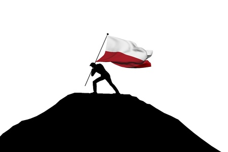 Poland flag being pushed into mountain top by a male silhouette. 3D Rendering Stock Photo