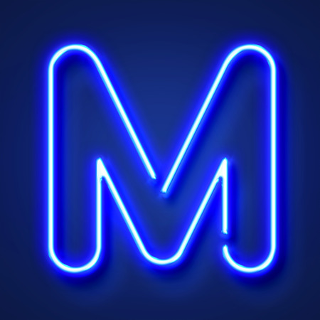 Letter M realistic glowing blue neon letter against a blue background
