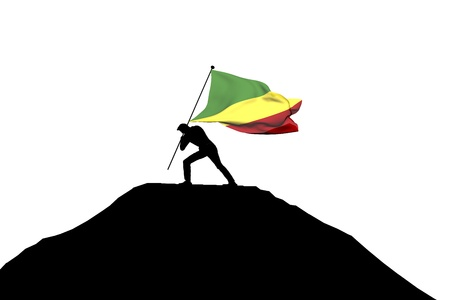 Republic of Congo flag being pushed into mountain top by a male silhouette. 3D Rendering Stock Photo