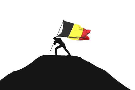 Belgium flag being pushed into mountain top by a male silhouette. 3D Rendering Stock Photo