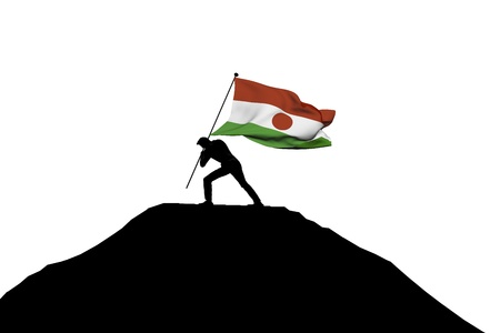 Niger flag being pushed into mountain top by a male silhouette. 3D Rendering