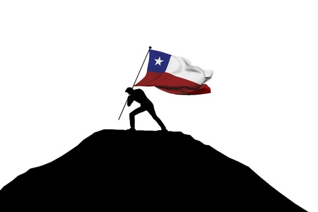 Chile flag being pushed into mountain top by a male silhouette. 3D Rendering