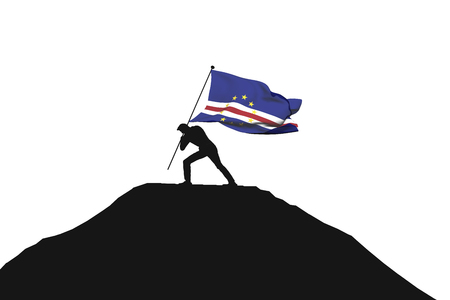 Cape verde flag being pushed into mountain top by a male silhouette. 3D Rendering Stock Photo