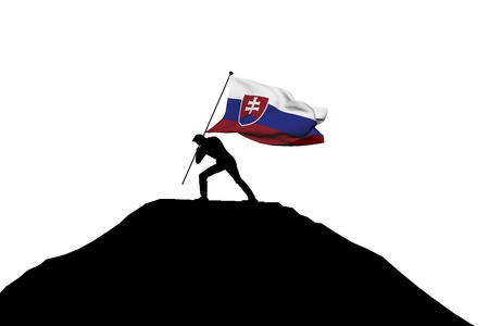 Slovakia flag being pushed into mountain top by a male silhouette. 3D Rendering