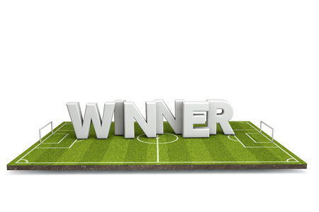 Football, soccer pitch with white winner text. 3D Rendering Stock Photo