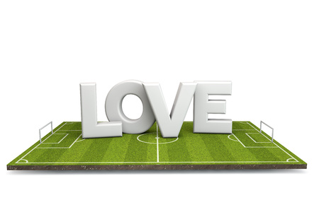 Football, soccer pitch with white love text. 3D Rendering Stock Photo