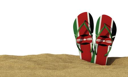Kenya flag flip flop sandals on a white background. 3D Rendering