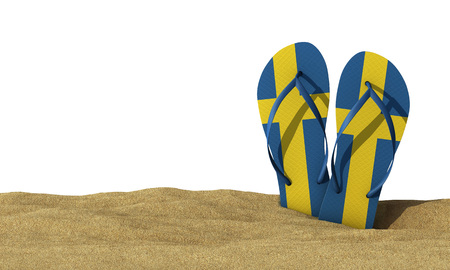 Sweden flag flip flop sandals on a white background. 3D Rendering Stock Photo